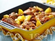 Вкусни печени пилешки бутчета с картофи и масло на фурна и ароматни подправки - розмарин, мащерка